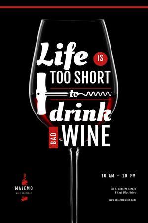 Platilla de diseño Wine Store Ad with glass with Corkscrew Tumblr