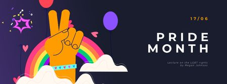 Pride Month Hand Gesturing over Rainbow Facebook Video cover Modelo de Design