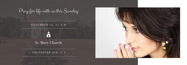 Church invitation with Woman Praying Tumblr Modelo de Design