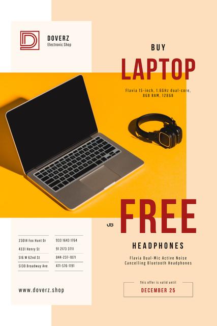 Gadgets Offer with Laptop and Headphones Pinterest – шаблон для дизайну