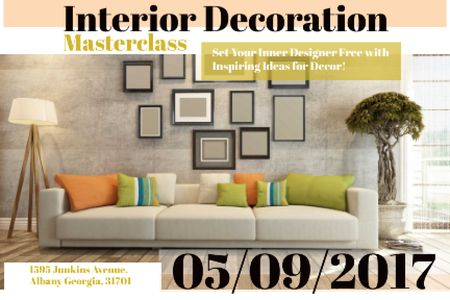 Interior decoration masterclass Announcement Gift Certificate – шаблон для дизайну