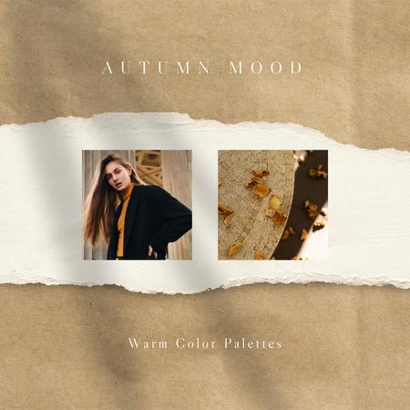 Autumn Inspiration with Woman in Stylish Outfit Instagram Design Template
