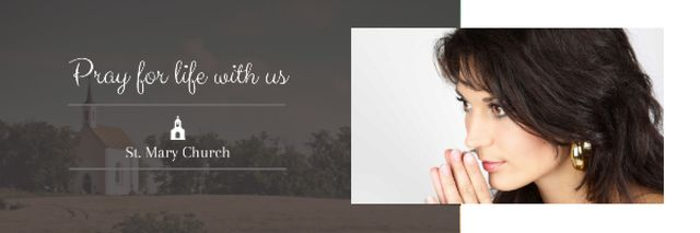 Church invitation with praying Woman Email header – шаблон для дизайна