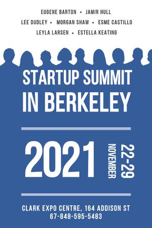 Startup Summit Announcement with Businesspeople Silhouettes Pinterest – шаблон для дизайну