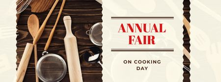 Cooking Day Announcement with Kitchen Utensils Facebook cover Modelo de Design