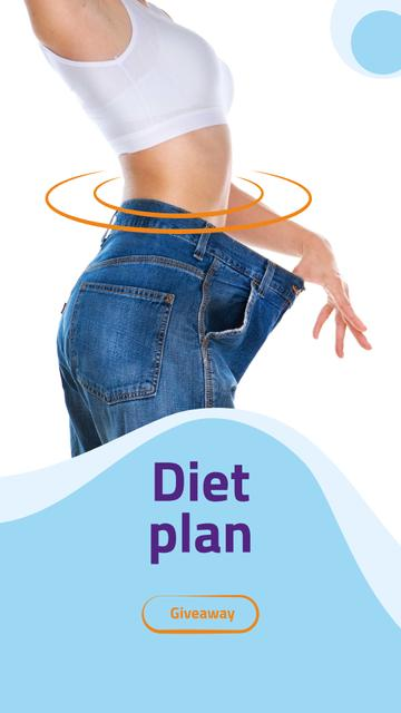 Diet Plan with Woman losing weight Instagram Story Modelo de Design