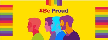 Designvorlage Pride Month Announcement with People's Silhouettes für Facebook cover