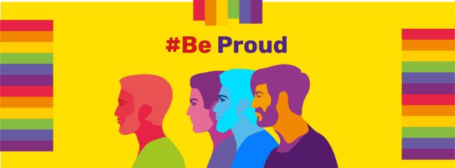 Pride Month Announcement with People's Silhouettes Facebook cover Modelo de Design