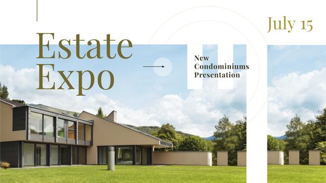 Plantilla de diseño de Expo Announcement with Modern Mansion FB event cover
