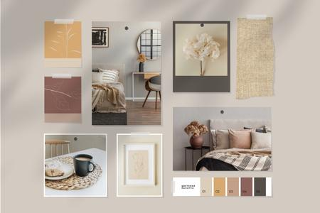 Cozy interior in natural colors Mood Board – шаблон для дизайна