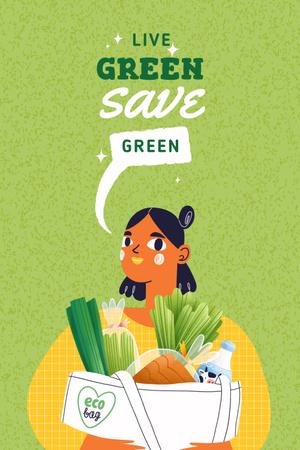 Modèle de visuel Vegan Lifestyle concept with Woman holding Groceries - Pinterest
