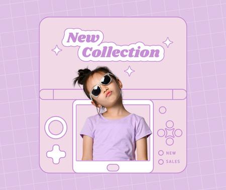 Modèle de visuel New Kids Fashion Collection Announcement with Stylish Little Girl - Facebook