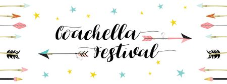 Plantilla de diseño de Coachella Music and Arts Festival Annoucement Facebook cover
