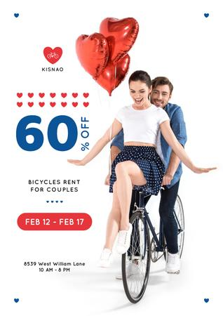 Valentine's Day Couple on a Rent Bicycle Poster – шаблон для дизайна