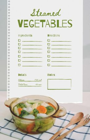 Template di design Steamed Vegetables Cooking Steps Recipe Card