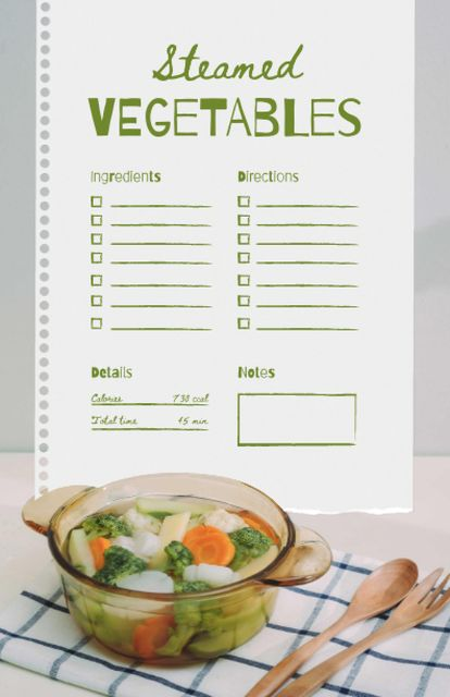 Steamed Vegetables Cooking Steps Recipe Cardデザインテンプレート