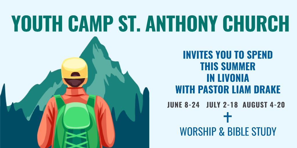 Template di design Youth religion camp of St.Anthony Church Twitter