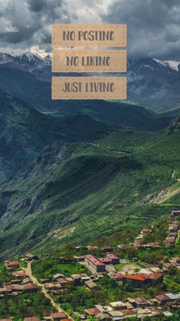 Ontwerpsjabloon van Instagram Story van Inspirational Citation with Mountains Landscape