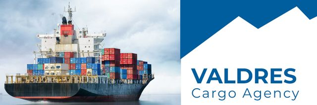 Template di design cargo agency banner with ship Twitter