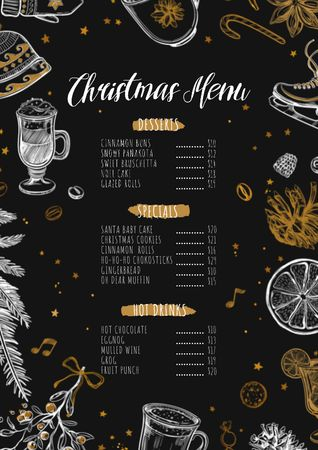 Plantilla de diseño de Christmas dishes course Menu