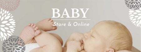 Plantilla de diseño de Baby Store Offer with Cute Infant Facebook cover