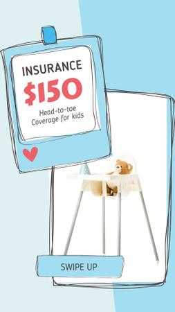 Plantilla de diseño de Kids' Highchair with Teddy Bear for insurance offer Instagram Story