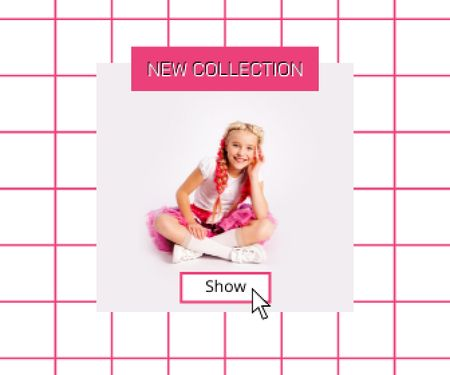 New Kids Collection Announcement with Stylish Little Girl Large Rectangle – шаблон для дизайну