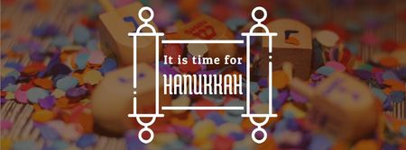 Plantilla de diseño de Happy Hanukkah dreidels and scroll Facebook Video cover