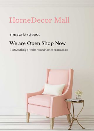 Template di design Furniture Store ad with Armchair in pink Flayer