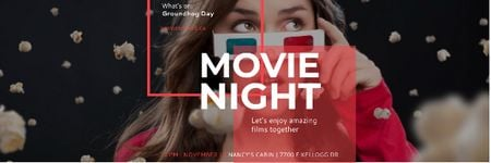 Ontwerpsjabloon van Email header van Movie night event Announcement