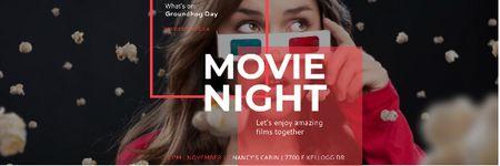 Movie night event Announcement Email header Modelo de Design