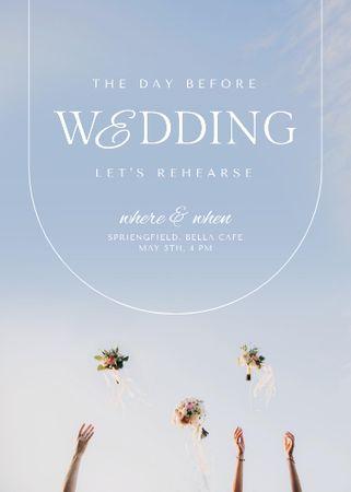 Modèle de visuel Wedding Day Announcement with Festive Bouquets - Invitation