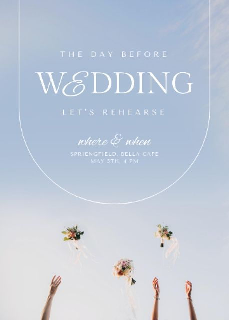 Wedding Day Announcement with Festive Bouquets Invitation Design Template