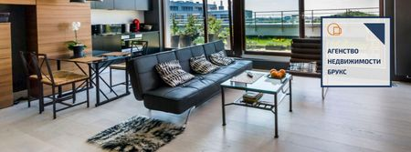 Real estate agency with cozy living room Facebook cover – шаблон для дизайна