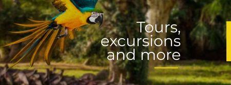 Modèle de visuel Exotic Tours Offer Parrot Flying in Forest - Facebook cover