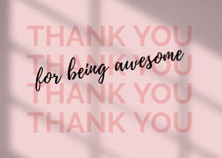 Cute Thankful Phrase on Pink Card Modelo de Design