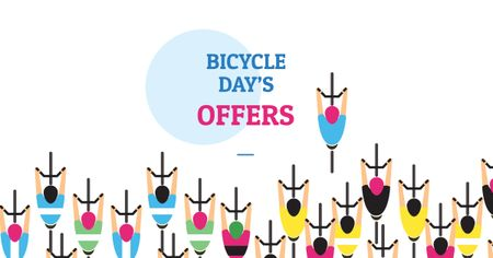 Modèle de visuel Bicycle Day Offer with Cyclists - Facebook AD