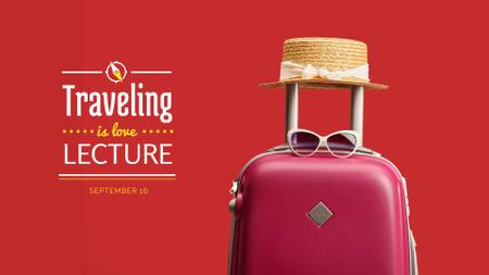 Travelling Inspiration Suitcase and Hat in Red FB event cover Modelo de Design