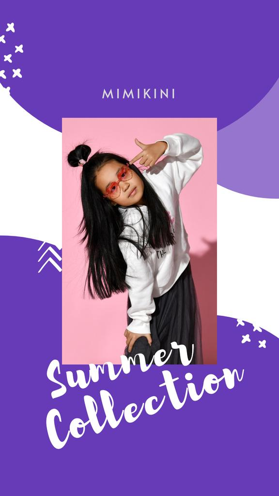 Summer Fashion Collection Announcement with Stylish Little Girl Instagram Story Design Template