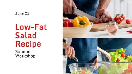 Ontwerpsjabloon van FB event cover van Cooking Blog Ad Chef Cutting Vegetables