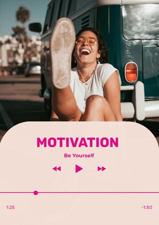 Designvorlage Motivational Phrase with Happy Young Woman für Poster