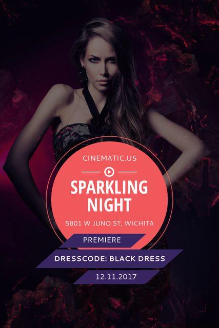 Plantilla de diseño de Night Party Invitation Woman in Glamorous Outfit Tumblr