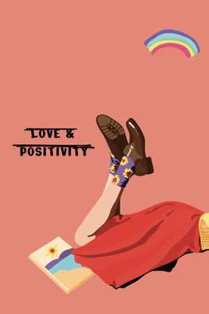 Plantilla de diseño de Inspirational Phrase with Cute Female Legs Pinterest