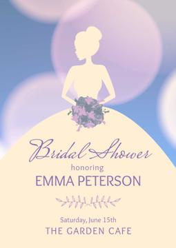 Wedding day invitation with Bride's Silhouette
