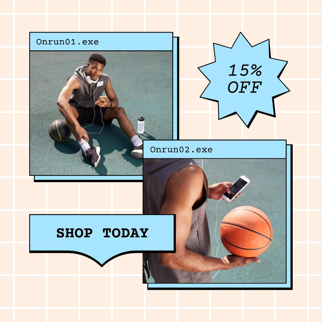 Template di design Sale Discount Offer with Muscular Attractive Basketball Player Instagram