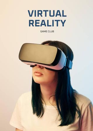Virtual Reality Game Club Ad with Woman in Glasses Poster Tasarım Şablonu