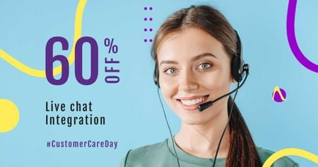 Customer Care Day Discount Offer Facebook AD Modelo de Design