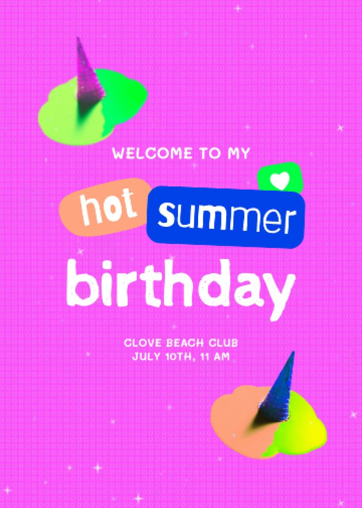 Birthday Party Bright Announcement Invitation – шаблон для дизайна