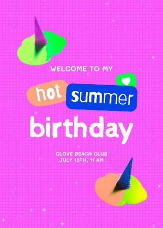 Template di design Birthday Party Bright Announcement Invitation