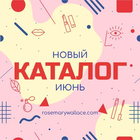 Makeup cosmetics catalog with Icons in pink Instagram AD – шаблон для дизайна